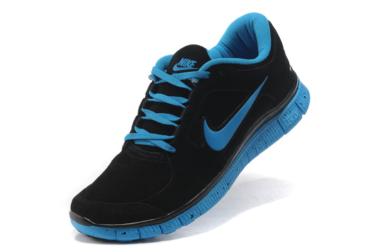 black and blue nike shoes