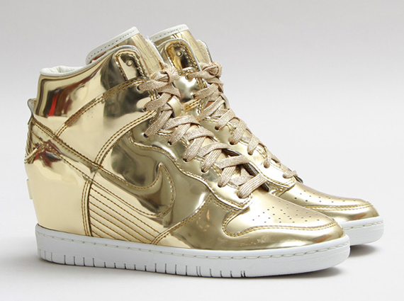 gold nike sneakers